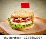 tasty burger with flag  french...   Shutterstock . vector #1178562097