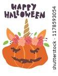 cute kawaii little pumpkin head ... | Shutterstock .eps vector #1178593054