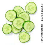 Small photo of Fresh cucumber slices, isolated on white background. Close up shot of cucumber, arrangement or pile.