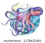 watercolor octopus. underwater... | Shutterstock . vector #1178622481