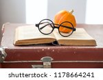 vintage book with pumpkin and... | Shutterstock . vector #1178664241