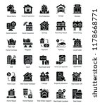 real estate glyph icons set | Shutterstock .eps vector #1178668771