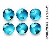 vector set of earth globes | Shutterstock .eps vector #11786824