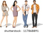 group of fashion cartoon young... | Shutterstock .eps vector #117868891