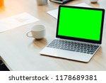 laptop computer mockup with... | Shutterstock . vector #1178689381