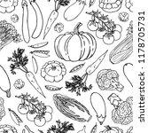 vegetable vector seamless... | Shutterstock .eps vector #1178705731