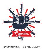 happy columbus day card | Shutterstock .eps vector #1178706694
