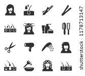 hair care  monochrome icons set | Shutterstock .eps vector #1178713147