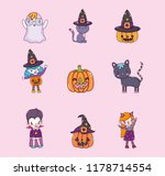 set of halloween cartoons | Shutterstock .eps vector #1178714554