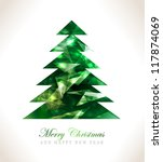 christmas greeting card merry... | Shutterstock .eps vector #117874069