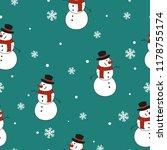 seamless christmas snowman... | Shutterstock .eps vector #1178755174