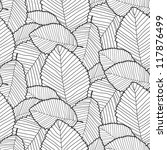leafs pattern. black outline - stock photo