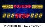danger neon text vector. danger ... | Shutterstock .eps vector #1178787097