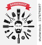 barbershop tools around male... | Shutterstock .eps vector #1178790097