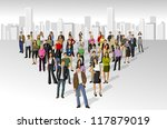 big group of people on the city | Shutterstock .eps vector #117879019
