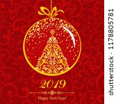happy new year 2019  vintage... | Shutterstock . vector #1178805781