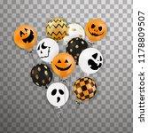 happy halloween. flying bunch... | Shutterstock .eps vector #1178809507