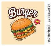 hand drawn big burger vector... | Shutterstock .eps vector #1178810614