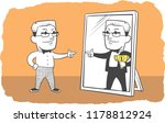 the man looks at himself in the ... | Shutterstock .eps vector #1178812924