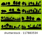 forest trees silhouettes... | Shutterstock .eps vector #117883534