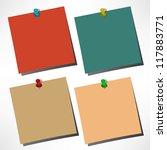 vector paper notes with push pin | Shutterstock .eps vector #117883771