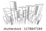 modern vector dark city horizon ...   Shutterstock .eps vector #1178847184