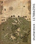 old vintage fantasy map   | Shutterstock . vector #1178862541