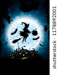 halloween background with witch ... | Shutterstock . vector #1178892001