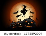 halloween background with witch ... | Shutterstock . vector #1178892004