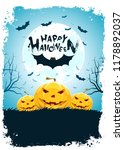 halloween background with bat... | Shutterstock . vector #1178892037