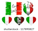 set of flags and hearts in...   Shutterstock .eps vector #117890827