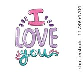 scribbled i love you message... | Shutterstock .eps vector #1178954704