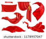 red curtain. 3d realistic... | Shutterstock .eps vector #1178957047