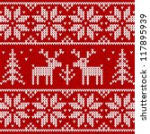 red knitted sweater with deer... | Shutterstock .eps vector #117895939
