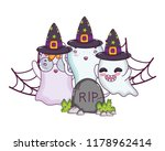 ghosts with witch hat in the... | Shutterstock .eps vector #1178962414