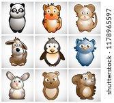 cute animals vector character... | Shutterstock .eps vector #1178965597