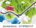 paper art of red plane fly... | Shutterstock .eps vector #1178986717