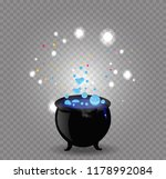 black witch cauldron with blue... | Shutterstock .eps vector #1178992084