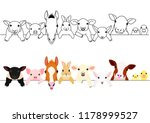 cute farm animal babies border... | Shutterstock .eps vector #1178999527