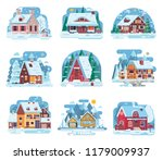 winter country houses and... | Shutterstock . vector #1179009937