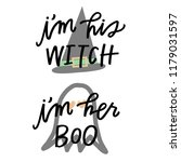 i'm his witch  i'm her boo   Shutterstock .eps vector #1179031597