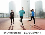 young fitness people running in ... | Shutterstock . vector #1179039544