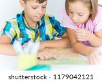 elementary  students  boy and a ... | Shutterstock . vector #1179042121