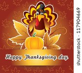 thanksgiving card with turkey | Shutterstock .eps vector #117904669