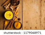tasty hot turmeric curcuma milk ...   Shutterstock . vector #1179068971