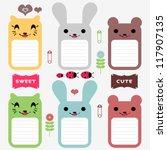 Stock vector cute animals set of scrapbook elements 117907135
