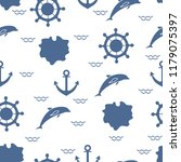 seamless pattern with dolphins  ... | Shutterstock .eps vector #1179075397