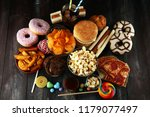 unhealthy products. food bad... | Shutterstock . vector #1179077497
