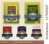 coffee labels   emblems sets | Shutterstock .eps vector #117909337