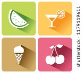 summer food icons with shadow... | Shutterstock .eps vector #1179119611